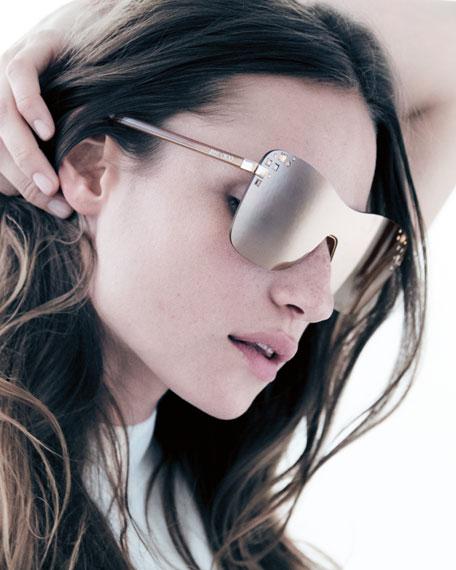 Masks Mirrored Swarovski® Shield Sunglasses