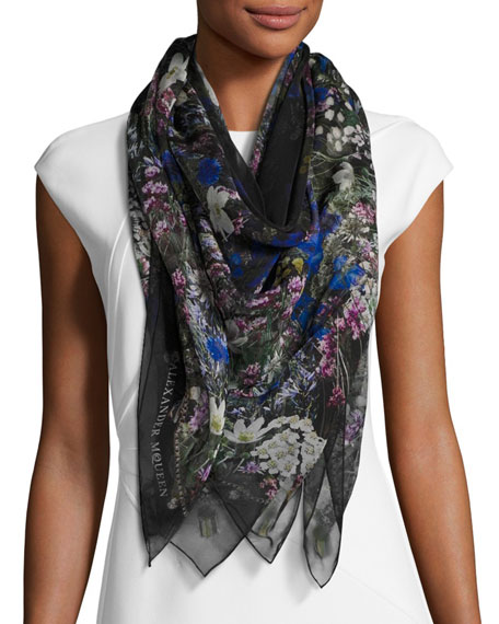 Wild Meadow Square Silk Scarf, Black/White