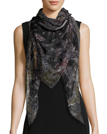 Alexander McQueen Wildflower Flight Square Silk Scarf,