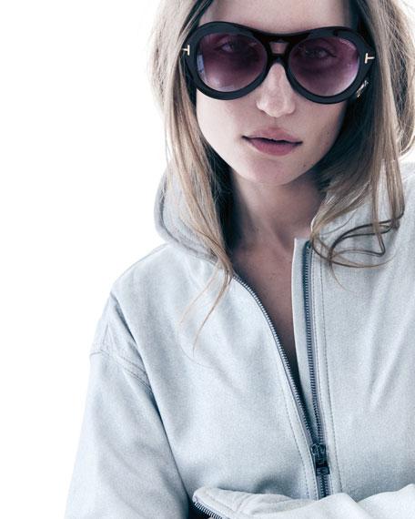TOM FORD Isla Chunky Aviator Sunglasses, Black
