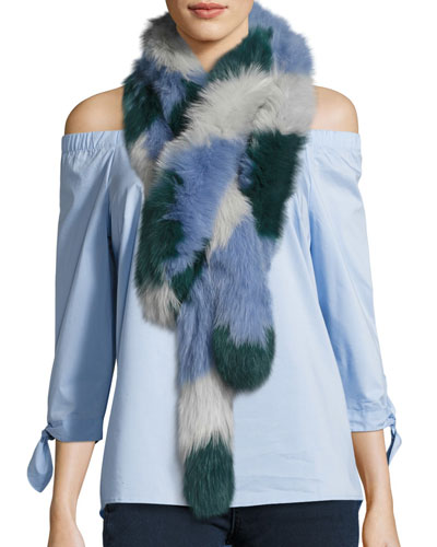 Lacey Colorblock Fox Fur Scarf, Green/Multicolor