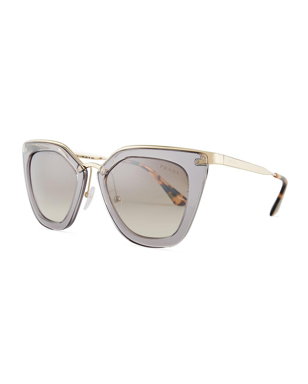 28ed8521c5d1 Prada Gradient Metal-Trim Geometric Cat-Eye Sunglasses