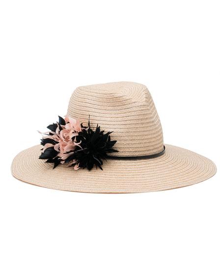 Eugenia Kim Emmanuelle Floral Wide-Brim Fedora Hat, Neutral