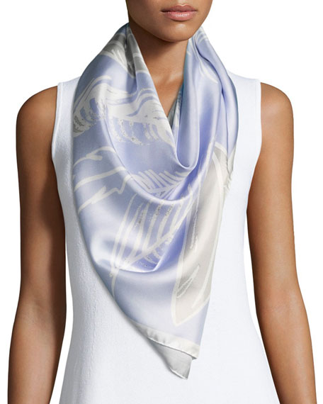 Anna Coroneo Silk Satin Square Feather Scarf, Blue