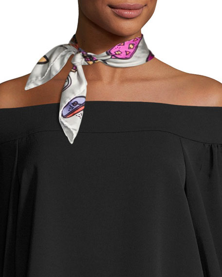 Anna Coroneo Mini Square Silk Twill Cocktail Scarf,