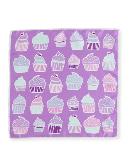 Mini Square Silk Twill Cupcake Scarf, Lilac