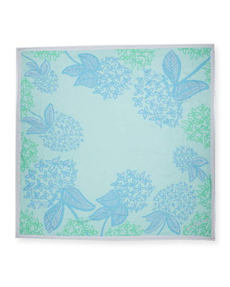 Square Hydrangeas Scarf, Light Blue