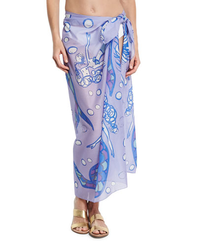 Cotton Voile Mermaid Scarf, Lilac