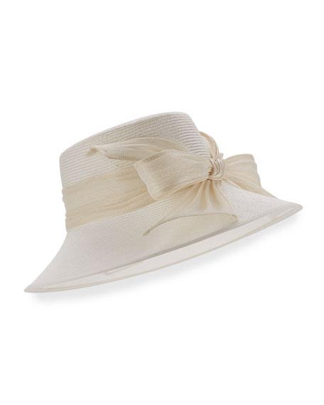 Structured Straw Bucket Hat, Off White