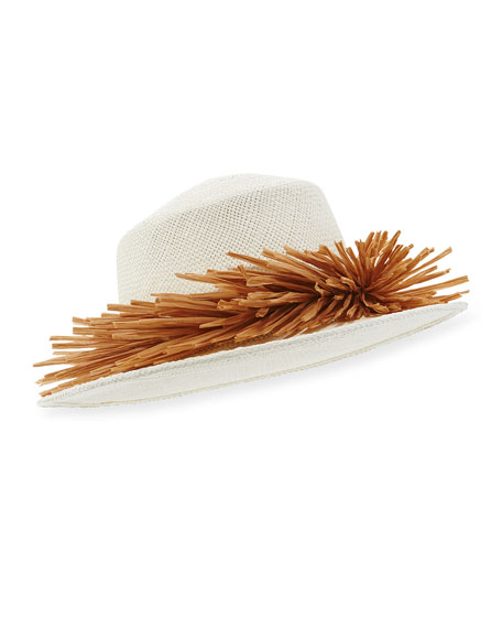 Brigette Ecuadorian Straw Sun Hat, Ivory