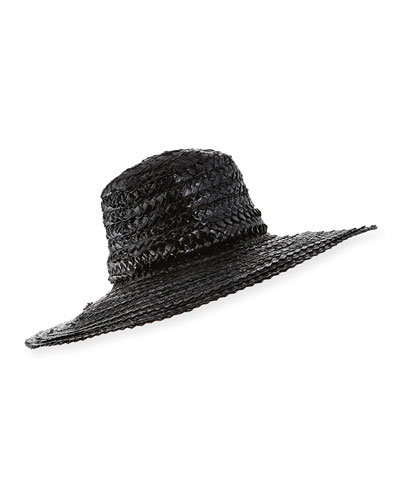 Taya Coated Straw Sun Hat, Black