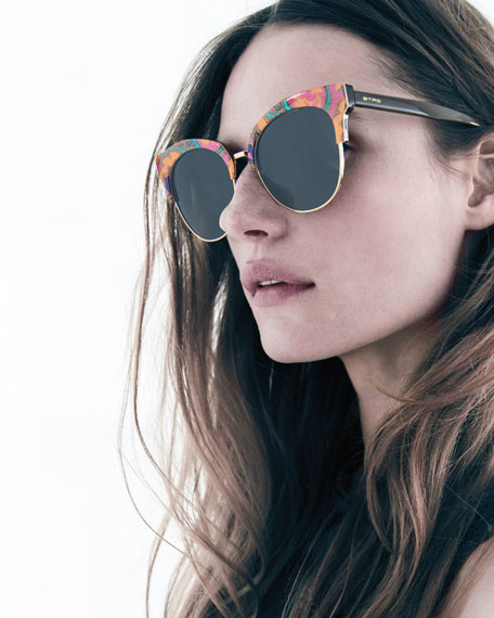 Semi-Rimless Paisley Cat-Eye Sunglasses