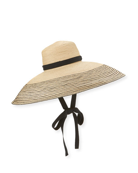 Wide-Brim Raffia Sun Hat, Black/Natural