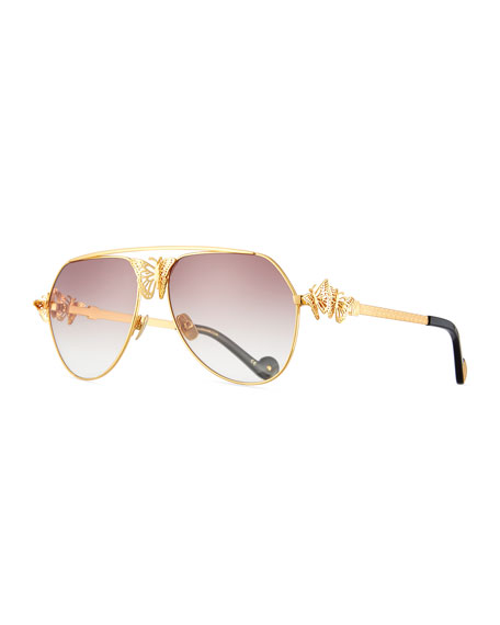 Anna-Karin Karlsson Miss Rosell Butterfly Aviator Sunglasses, 24k