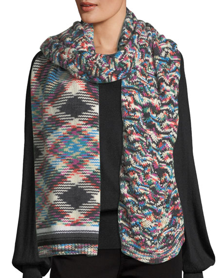 Mixed-Pattern Knit Scarf