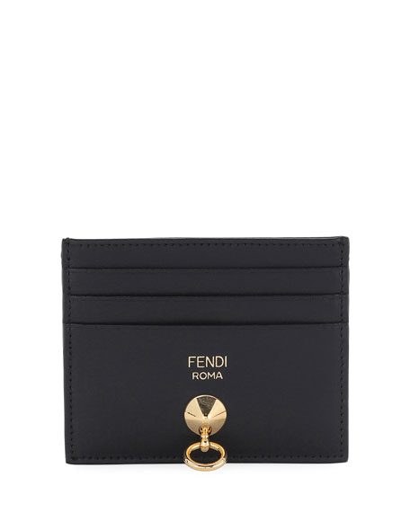 Fendi By The Way Leather Card Holder, Black