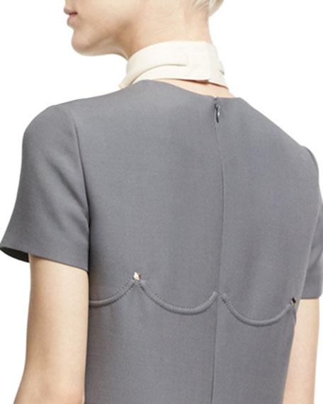 Virgin Wool-Silk Bow Collar, Ivory
