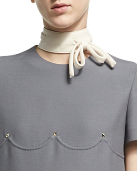 Virgin Wool-Silk Bow Collar, Ivory