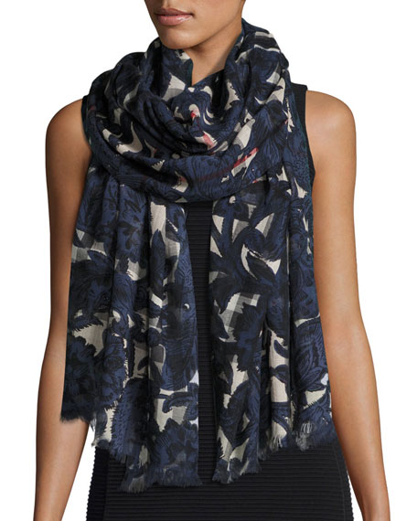 Burberry Floral Beasts Giant Check Scarf, Dark Blue