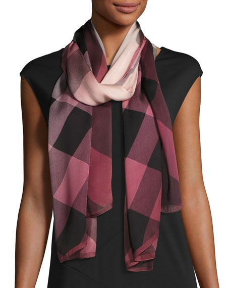 Burberry Ombre Washed Check Silk Scarf, Rose
