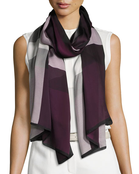 Ultra Washed Mega Check Silk Scarf, Dark Purple