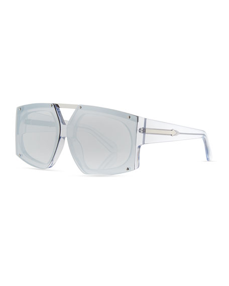 Karen Walker Salvador Oversized Mirrored Wrap Sunglasses, White