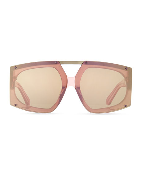 Oversized Mirrored Sunglasses  karen walker salvador oversized mirrored wrap sunglasses pink