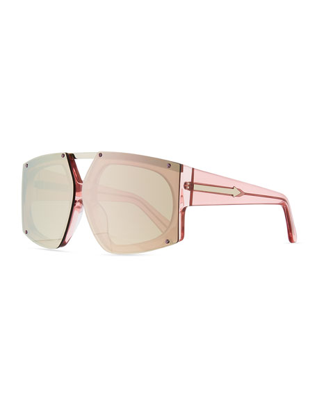 Karen Walker Salvador Oversized Mirrored Wrap Sunglasses, Pink