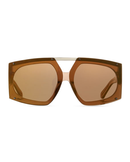 Salvador Oversized Mirrored Wrap Sunglasses, Brown