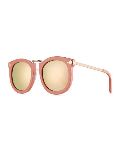 Karen Walker Super Lunar Round Monochromatic Sunglasses, Pink