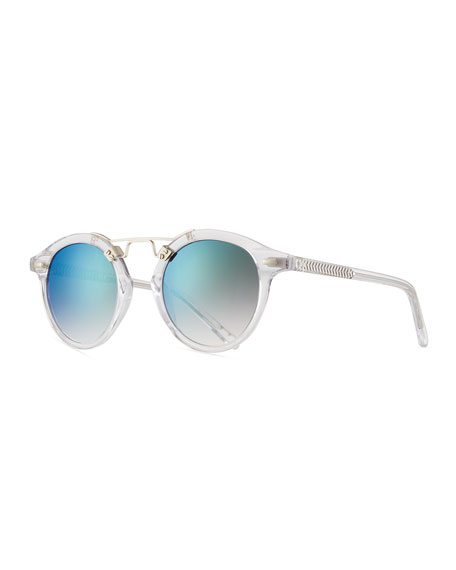 KREWE St. Louis Round Mirrored Sunglasses, Rose/Brown Tortoise