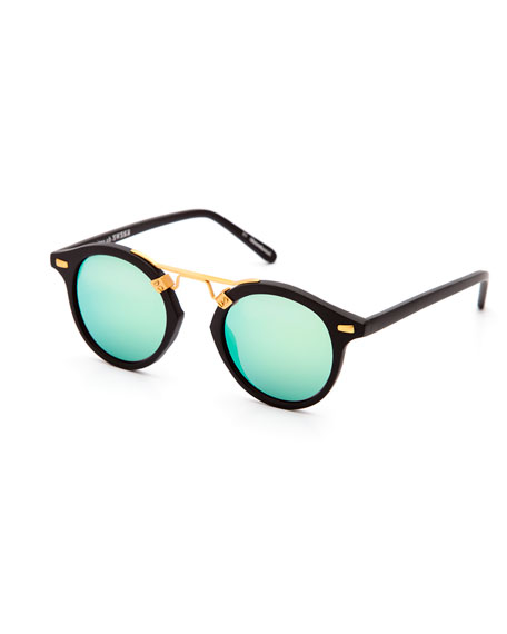 KREWE St. Louis Round Mirrored Sunglasses, Tortoise/Purple/Champagne in Black