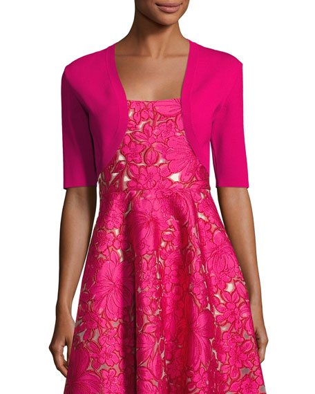 Lela Rose Classic Knit Shrug, Pink and Matching