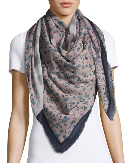 Burberry Square Floral Patchwork Scarf, Blue