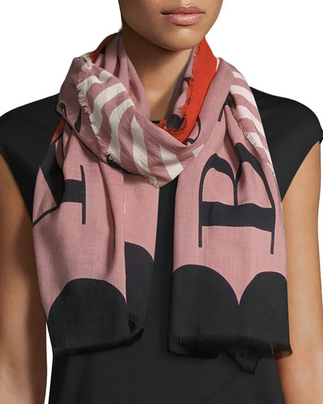 Burberry Lightweight Patterned Logo Scarf, Light Pink