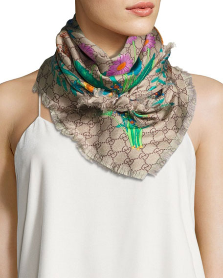 Flora GG Silk Scarf, Multicolor