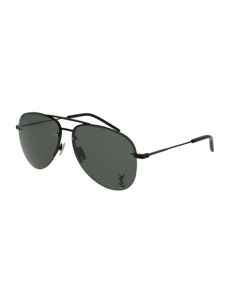 Saint Laurent Classic 11 Monochromatic Aviator Sunglasses, Black