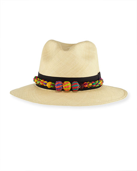Straw Pompom Fedora Hat, Tan