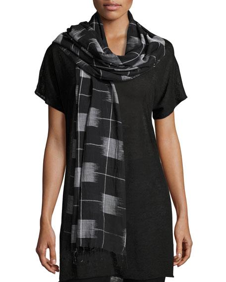Eileen Fisher Organic Cotton Gridded Ikat Scarf, Black