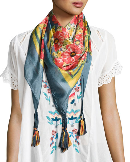 Johnny Was Printed Silk Georgette Scarf, Multicolor
