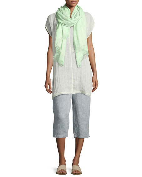 Organic Linen Gauzy Dots Scarf, Light Green