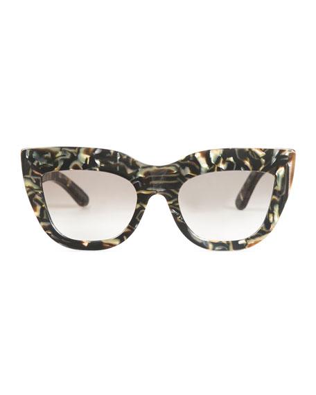 Marmont Cat-Eye Sunglasses, White/Black Tortoise