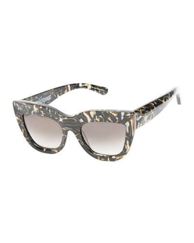 Marmont Cat-Eye Sunglasses, White/Black Tortoise