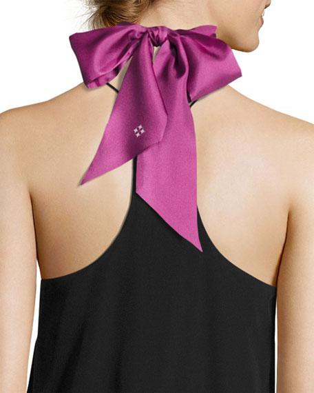 Saint & Sinner Skinny Silk Twill Scarf, Fuchsia