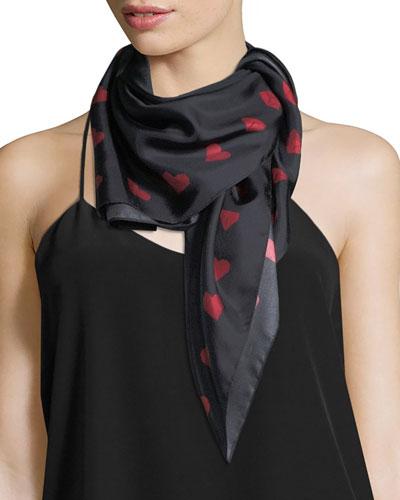 Paper Heart Square Silk Twill Scarf, Black/Red