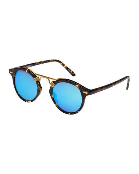 KREWE St. Louis Round Mirrored Sunglasses, Blue/Tortoise
