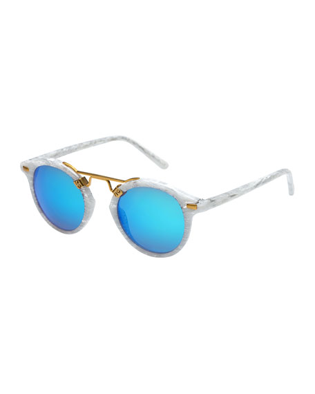 KREWE St. Louis Round Gradient Sunglasses, Blue/White