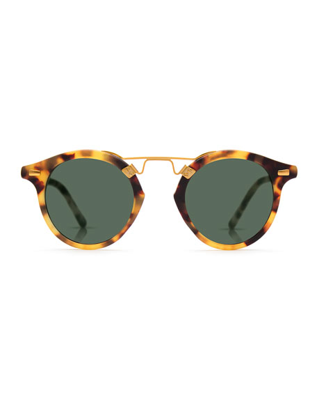 St. Louis Round Monochromatic Sunglasses, Brown Tortoise