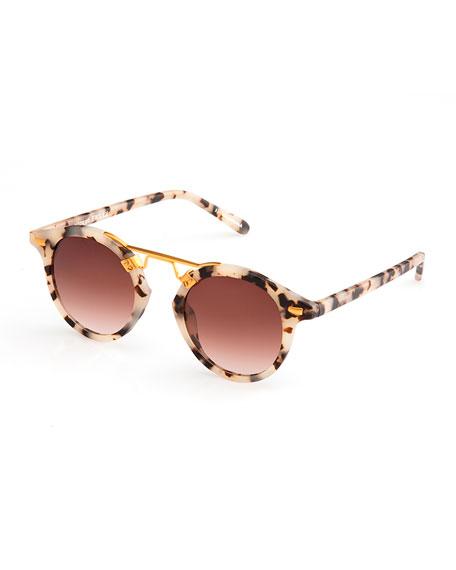 KREWE St. Louis Round Gradient Sunglasses, Rose/White Tortoise