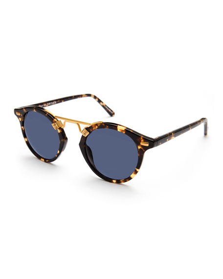 KREWE St. Louis Round Polarized Sunglasses, Blue/Brown Tortoise
